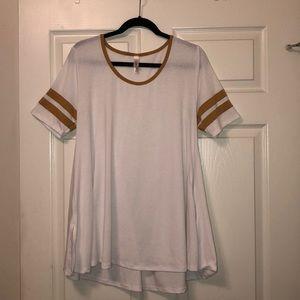 LulaRoe White and Yellow Dress/Oversized Shirt